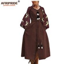 2019 phi vải in ăn mặc giản dị cho phụ nữ AFRIPRIDE bazin richi tay áo lồng đèn mắt cá chân chiều dài chia phụ nữ ăn mặc A1925016