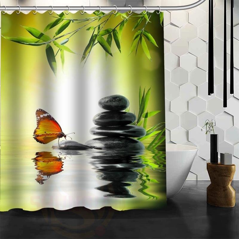 Xüsusi Zen daş Duş Perdesi Polyester Parça Daha çox ölçülü - Ev əşyaları - Fotoqrafiya 4