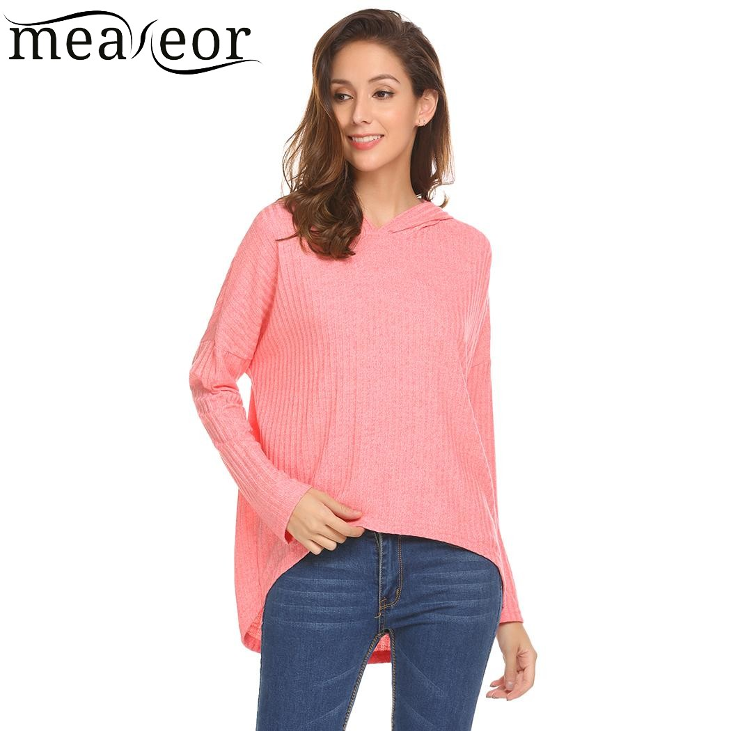 9dadf2d6240 US $13.88 40% OFF|Meaneor Women Casual Hooded Batwing Long Sleeve T Shirt  Solid Asymmetrical Hem Sexy Female Ladies 2018 Spring New T shirt Tops-in  ...