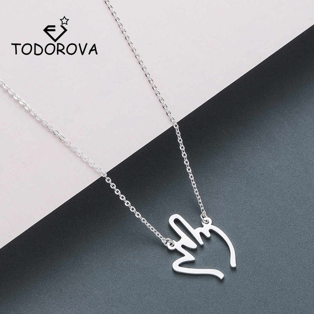 Todorova Hip Hop Middle Finger Pendant Necklace Women Men Stainless Steel Jewelry Hollow Gesture Necklace