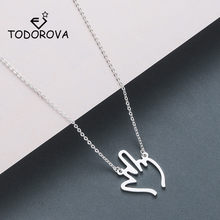 Todorova Hip Hop Middle Finger Pendant Necklace Women Men Stainless Steel Jewelry Hollow Gesture Necklace(China)