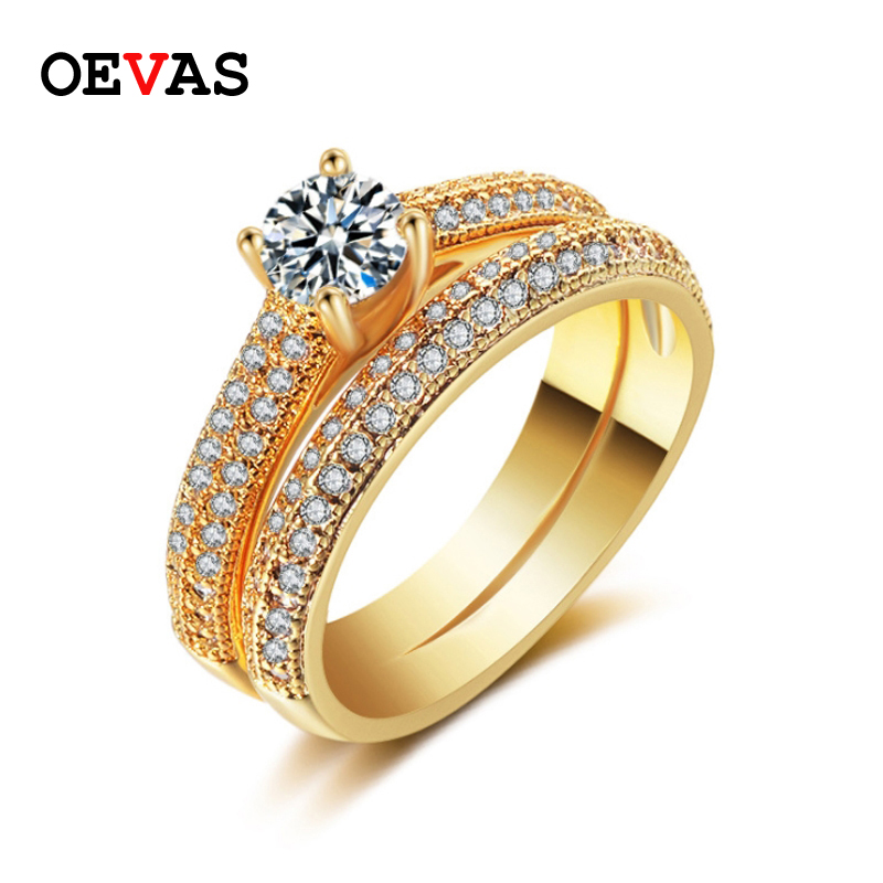 Elegant Rings Set For Women 2019 High Quality Gold Color
