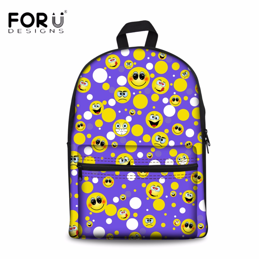 Shiv Naresh Teens Boxing Gloves 12oz: FORUDESIGNS Funny Emoji Face Print Women Canvas Backpack