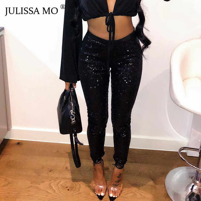 354182e592284 JULISSA MO Glitter Sequin Trousers Women Sparkly Sexy High Waist Pencil  Pants 2019 Fashion Christmas Bodycon