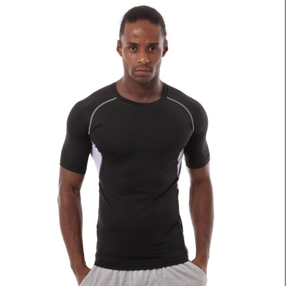 Elastic Men Short Sleeve Tight T-shirt Comfortable Sports Top Moisture Wicking Quick Dry Cooling Trainning & Exercise Shirt
