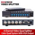 $ NUMBER CANALES de Vídeo en Color Color Quad Procesador Divisor Con VGA-OUT Digital Para El Sistema de Seguridad de CIRCUITO CERRADO de televisión Con BNC Divisor del interruptor