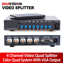 4CH Color Video Digital Color Quad Splitter Processor With VGA-OUT For CCTV Security System With BNC Switcher Splitter