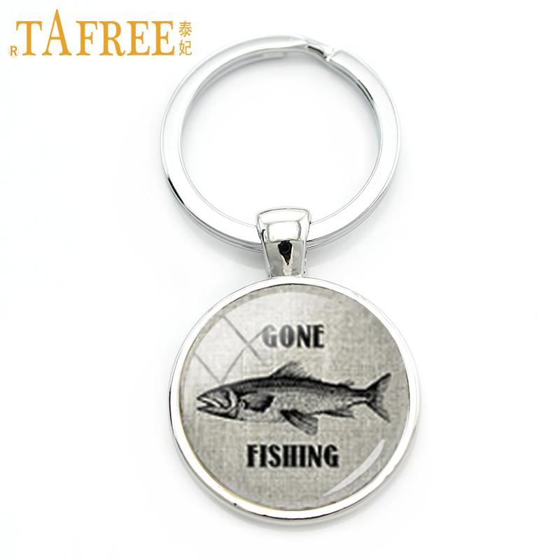 TAFREE Gone Fishing Key Chain Vintage Interesting Fish Character Picture Keychain Charm Of Marine Life Gift For Him KC228