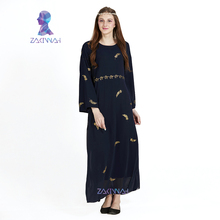 Uudet muslimit Naisten pitkähihainen sifonki mekko maxi abaya jalabiya islamilaiset naiset mekko vaatteet kaapu kaftan muoti