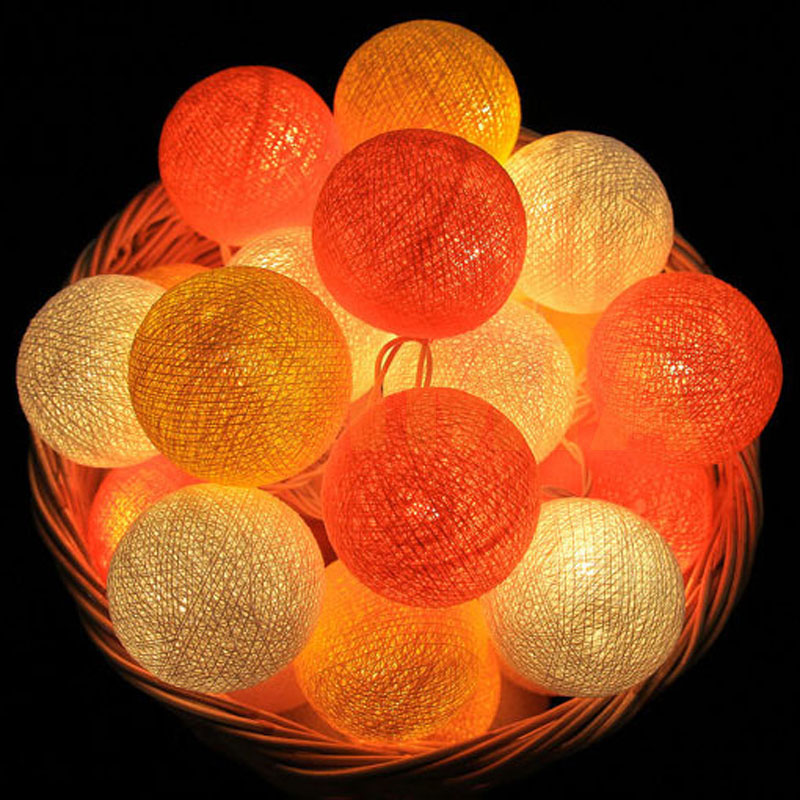 Orange/Yellow/White Cotton Balls LED String Fairy Christmas Holiday Garlands Lights Guirlande Lumineuse Wedding Party Decoration