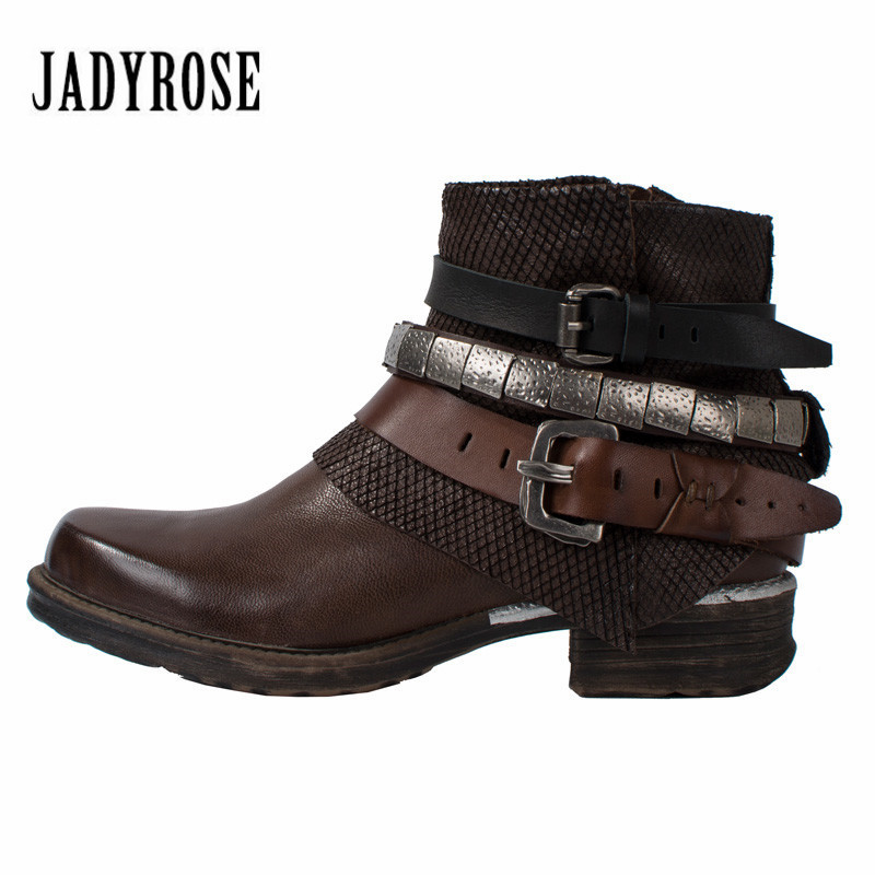 Jady Rose Punk Style Genuine Leather Ankle Boots for Women Chain Decor Short Booties Female Flat Rubber Shoes Woman Platform new fashion black purple women genuine leather ankle boots chain decor punk style motorcycle booties flat botas militares
