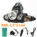 13000LM xml-L2*3 led headlamp USB Rechargeable Headlight Lamp Torches lighting  Lantern light Ac / Car usb Charger 18650 Battery