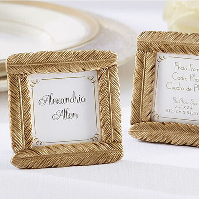 100pcslot Resin Gold Feather Frame Baby Shower Favors Indian