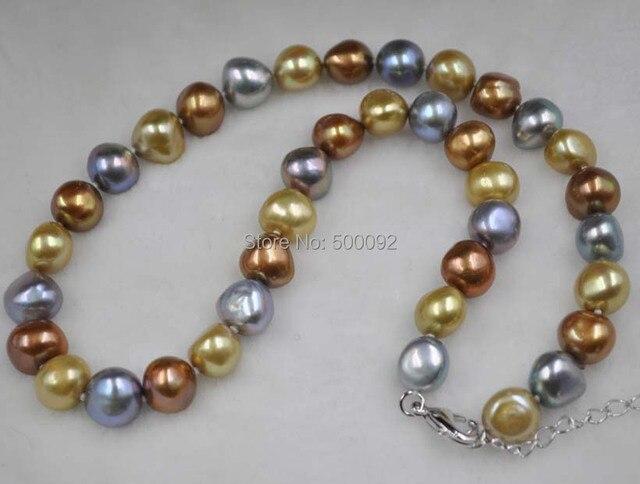"""Baroque 10-11*11-12mm multicolor cultured pearl necklace 17"""""""
