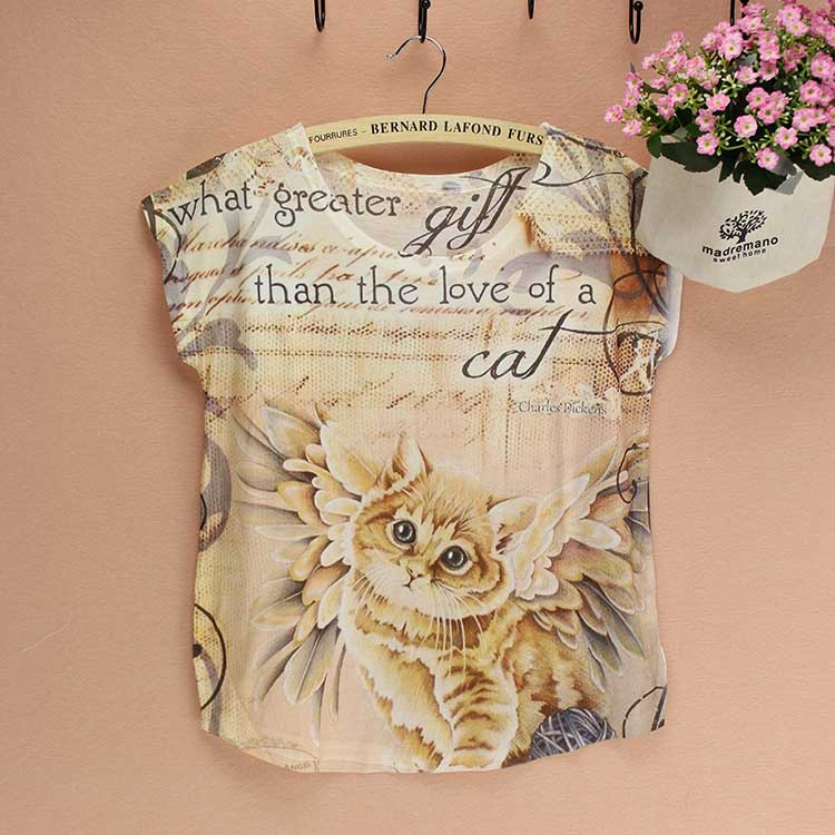 Lovely Cat pattern top tees wholesale women t-shirt 2015 summer tee American & European woman clothing discount promotion sale(China)