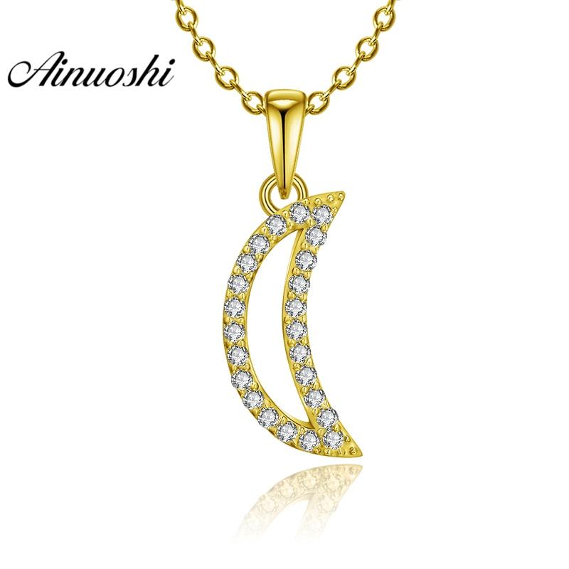 AINUOSHI 10K Solid Yellow Gold Pendant Hollow Moon Pendant SONA Diamond Women Men Jewelry Shining Lune Design Separate Pendant цена 2017