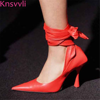 Knsvvli Red High Heels Woman Shoes Pointed Toe Genuine Leather Sexy Runway Party Shoes Ankle Cross Tied Women Pumps 2019