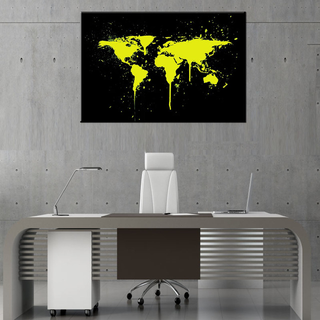 1 pcsset abstract yellow world maps canvas prints painting huge 1 pcsset abstract yellow world maps canvas prints painting huge picture golden world map gumiabroncs Gallery