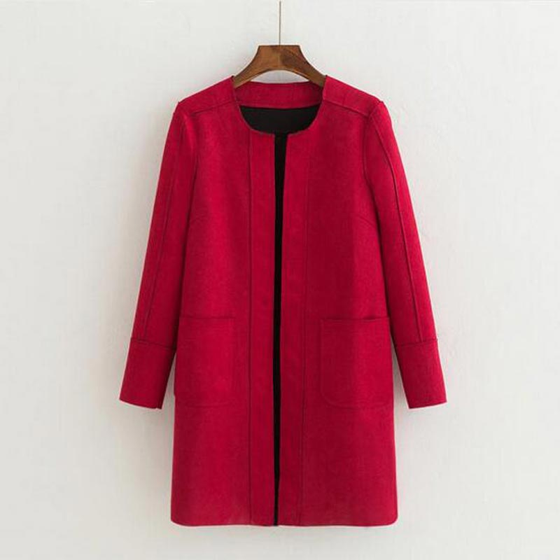9 Colors 2018 New Europe Spring autumn Faux Suede Long   Trench   coat Women fashion casual long-sleeved cardigan Outerwear AE1504