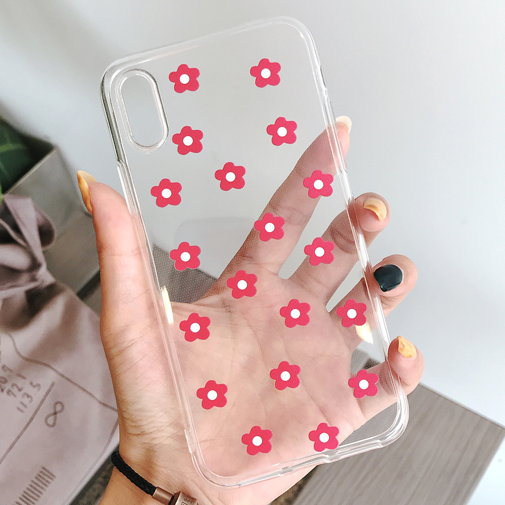 KIPX1117_4_JONSNOW Transparent Flowers Pattern Phone Case for iPhone X XR XS Max 8 Plus 7 6P 6S Cases Soft Silicone Cover Capa Coque Fundas