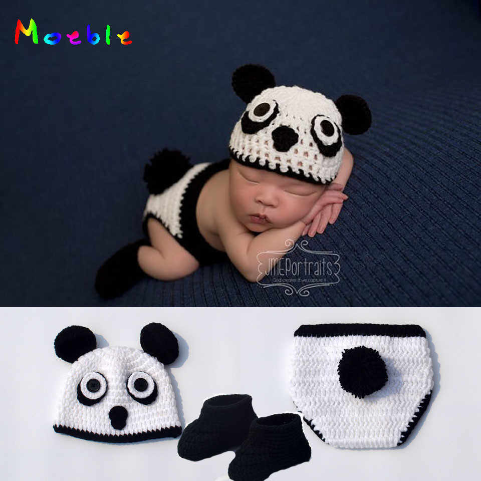 Newborn Panda Design Baby Crochet Photo Props Infant Baby Knitted Photography Props Baby Cartoon Costume MZS-16010