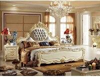 ProCARE Moderne King Size Chambre Meubles Lit Avec Véritable En Cuir