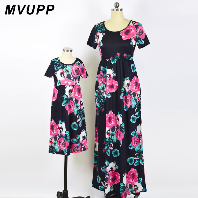 MVUPP Mother daughter dresses Fashion Floral Print Short sleeve mommy and me clothes Family matching outfits Ankle-length dress