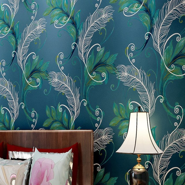 Free Shipping Nonwovens 3D Stereo Chinese Peacock Feather Wallpaper Bedroom Bedside Living Room TV Background