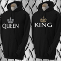 king and queen sweatshirt Matching Couple Hoodies Boyfriend & Girlfriend Crown Lovers Sweatshirts