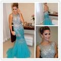 De lujo 2015 de Cristal Sirena Celeberity Vestido de Noche vestidos de Baile Vestidos de Tul Largo Mujeres Formal Vestido de Fiesta Vestidos De Fiesta