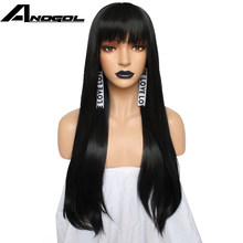 "Anogol Long Straight 26"" Burgundy Pink Grey Black Auburn Natural Blonde White Synthetic Wig For Women With Flat Bangs Fringe(China)"