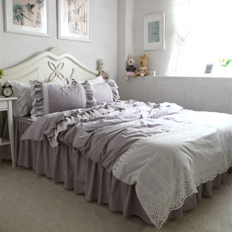 Embroidery european luxury bedding set lace ruffle wrinkle for European beds for sale