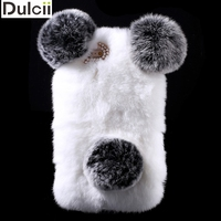 For IPhone6sPlus Panda Shape Cute 3D Warm Rabbit Fur Pearl Rhinestone Hard Case For IPhone 6s