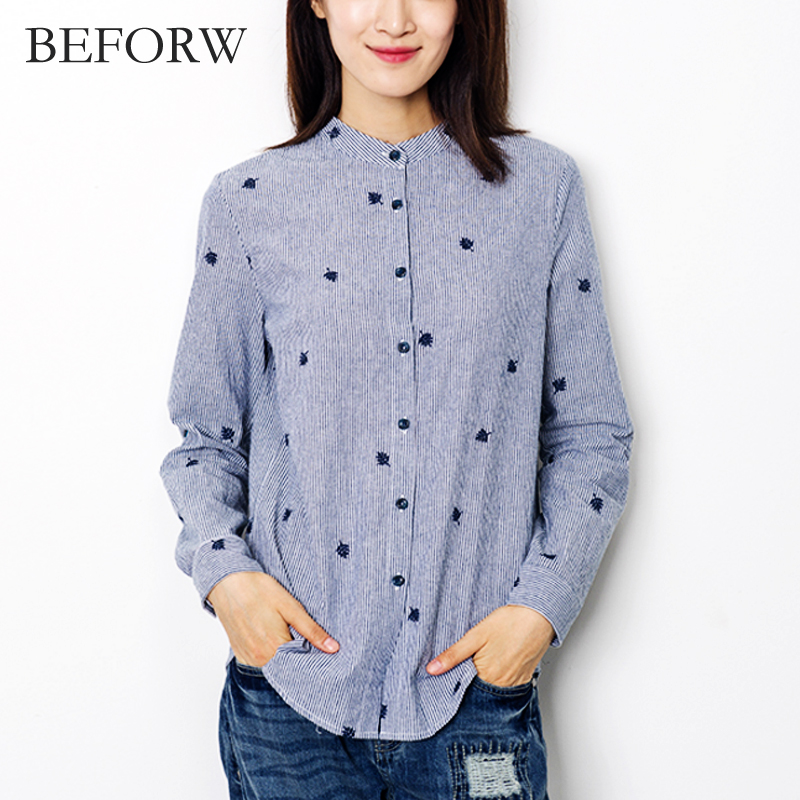 BEFORW Women Blouse Fashion Casual Stripes Tops Big Size Women Clothing Embroidery Cardigan Blouses Long Sleeves Women Clothes