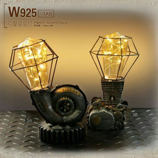 Industrial Retro High Quality Loft Vintage Edison Bulb Table Lamp Dimmable  Water Pipe Resin Light Fixture