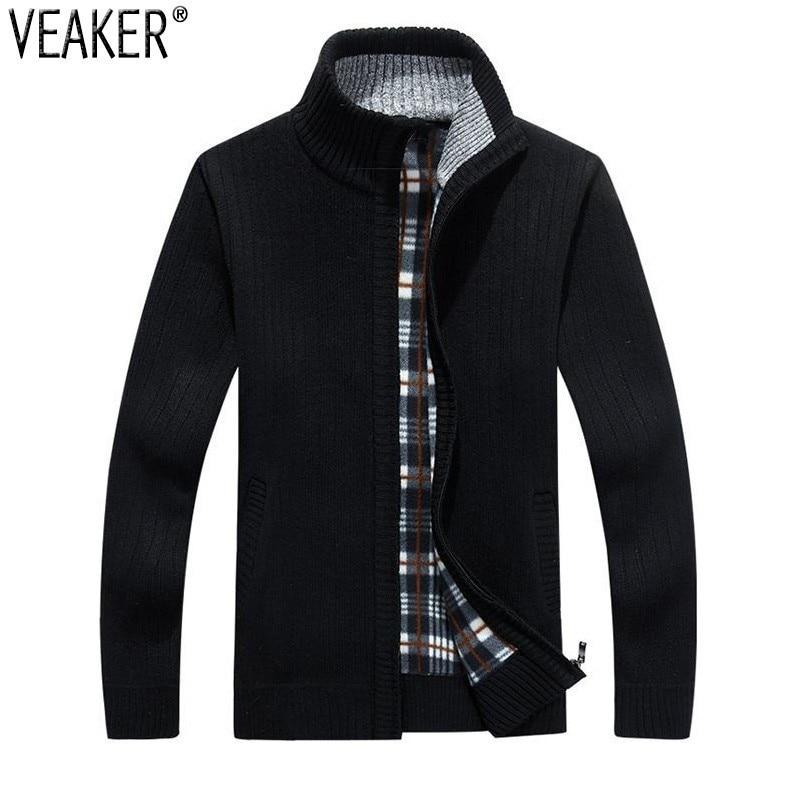 Outerwear Coat Sweater Men's Jacket Slim-Fit Wool Fleece Male Autumn Winter Thick 3XL