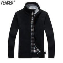 2018 New Men's Solid Color Sweatercoat Male Autumn Winter Thick Sweater coat Outerwear Slim Fit Wool Fleece Sweaters Jacket 3XL