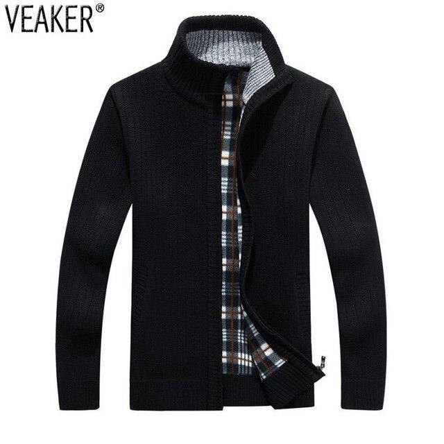 2018 neue männer Einfarbig Sweatercoat Männlichen Herbst Winter Dicken Pullover mantel Oberbekleidung Slim Fit Wolle Fleece Pullover Jacke 3XL