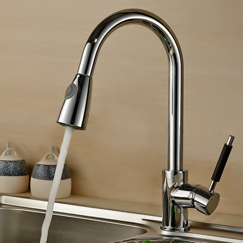 WEYUU Kitchen Faucet Nickel Brushed Brass material Kitchen Sink Faucet Pull Out Rotation Spray Mixer Tap