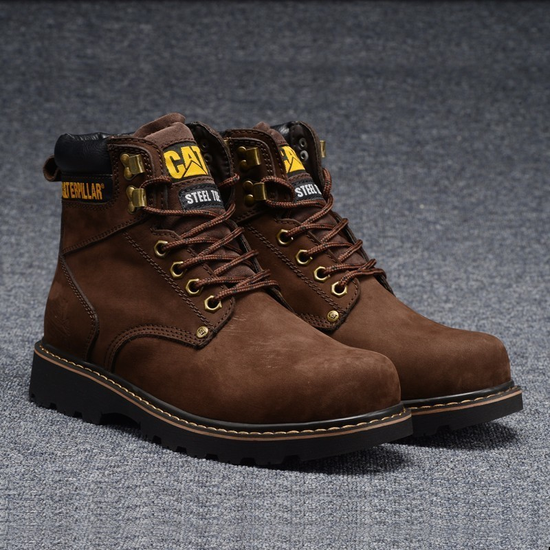 1f6b368a04f CAT Footwear Men Classic Dark Coffee Cow Leather Casual Shoes Brown Male  Ankle Winter Boots