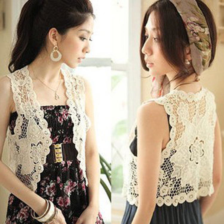 Aliexpress.com : Buy White And Beige Female Cutout Crochet Short ...