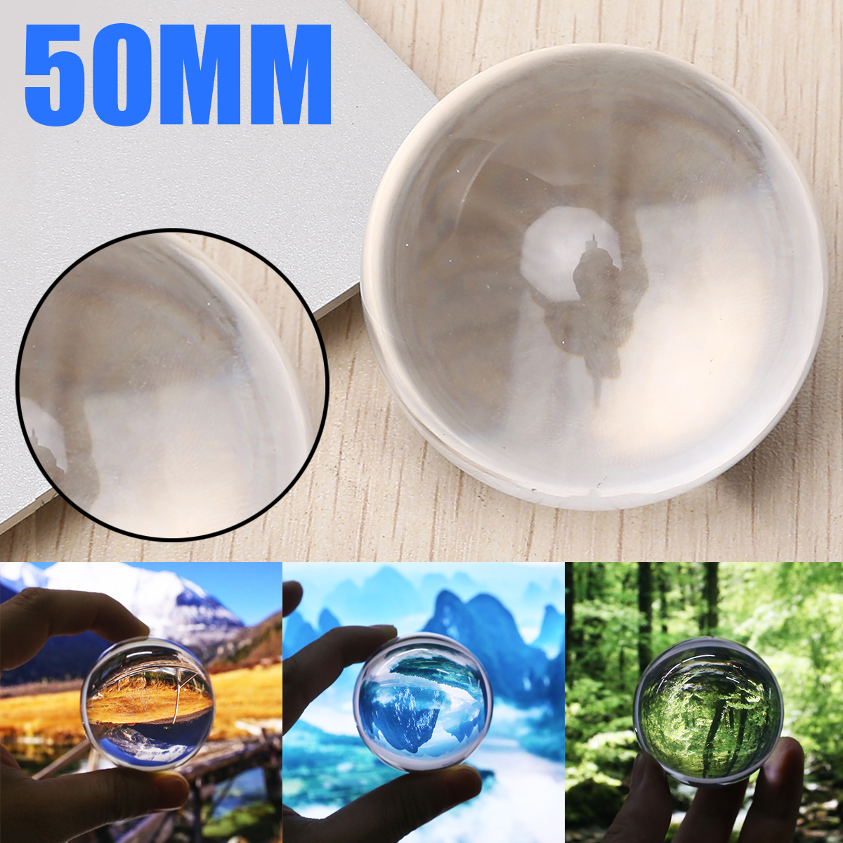 1pcs 50mm Clear Transparent Glass Healing Crystal Ball Natural Magic Sphere Photography Props