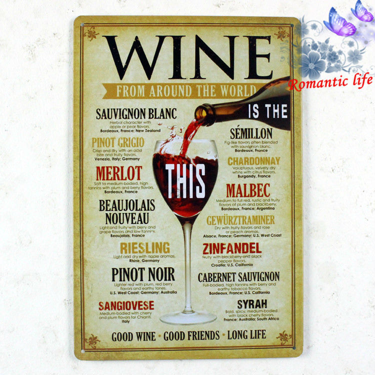 WINE FROM AROUND THE WORLD Vintage Tin Sign Bar pub home Wall Decor Retro Metal Art Poster