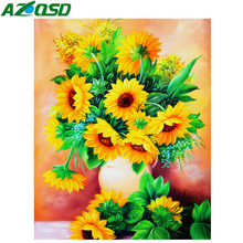 AZQSD Diamond Mosaic Flowers Cross Stitch Embroidery Sunflower Home Decor Painting Picture Of Rhinestones Gift