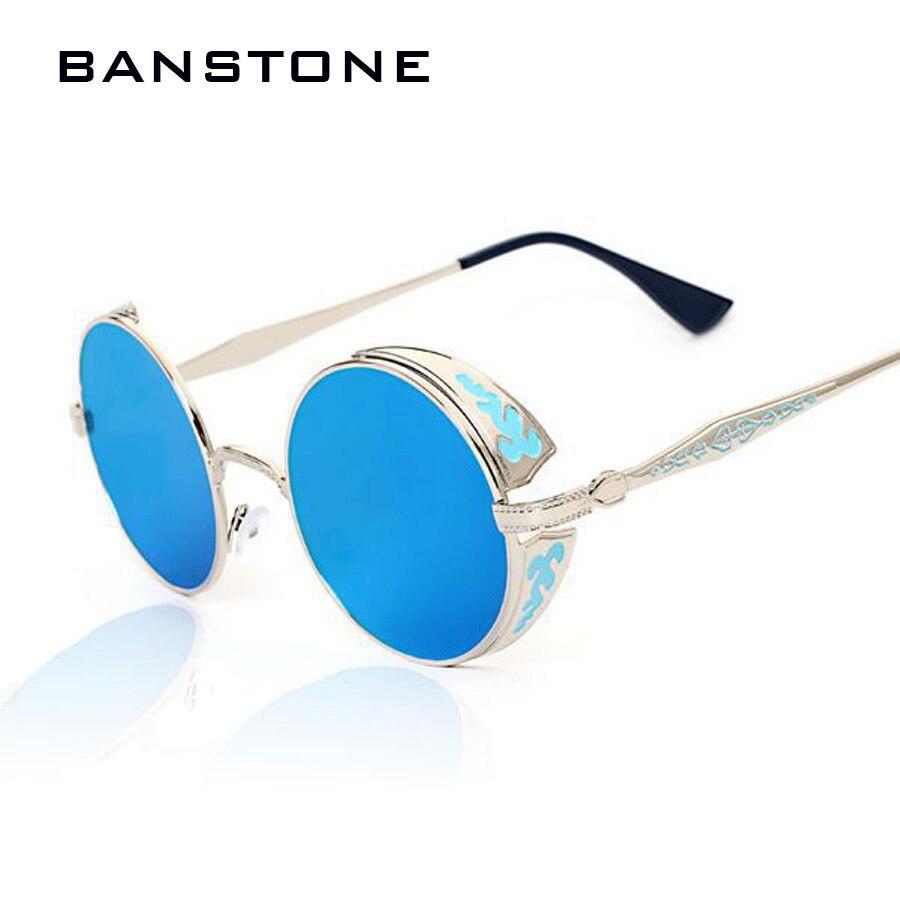 BANSTONE Gothique Steampunk Femmes Hommes lunettes de Soleil Revêtement  Miroir Lunettes de Soleil Ronde Cercle lunettes de Soleil Vintage Gafas  Masculino ... 1c7e06322338