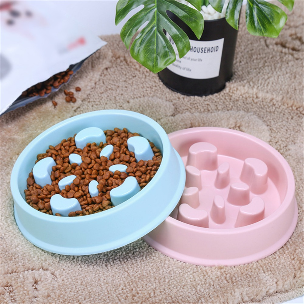 Useful Anti Choke Pet Dog Feeding Bowls Plastic Snail Shape Slow Down Eating Food Prevent Obesity Healthy Diet Dog Accessories