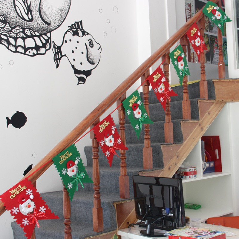 New Christmas Flag Hanging Party Santa Claus Snowman