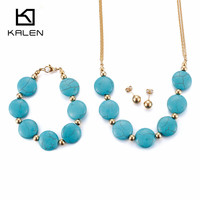 Kalen Fashion Indian Gold Color Women Jewelry Set Stainless Steel Blue Artificial Turquoise Beads Necklace Bracelet