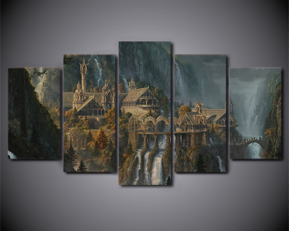 Wall Printed 5 Piece Wall Art Lord Of The Rings Canvas