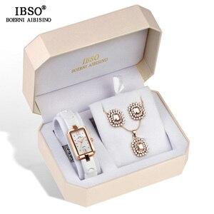 Image 3 - IBSO Marka kadın saat seti Moda Küpe Kolye saat seti kadın mücevheratı Seti Moda Yaratıcı quartz saat eşi Hediye